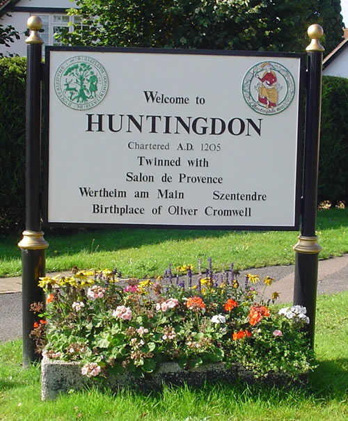 Photo of the Welcome to Huntingdon sign