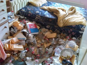 Photo of a dirty bedroom